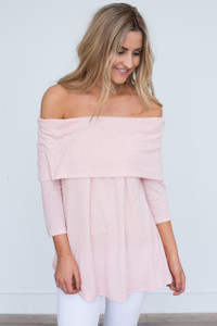 Ribbed Off The Shoulder Tunic - Light Pink