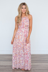 Sleeveless Floral Print Maxi Dress - Rose Multi