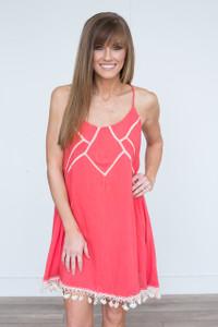 Crochet Fringe Trim Sleeveless Dress - Coral