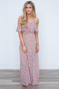 Drop Shoulder Floral Print Maxi Dress - Pink/Green