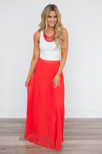 Pleated Maxi Skirt - Red Orange