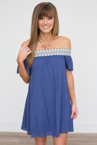 Printed Neckline Off The Shoulder Dress - Navy