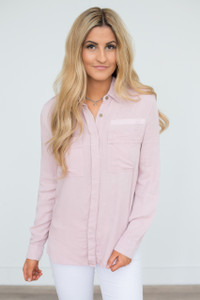 Distressed Button Down Top - Dusty Pink