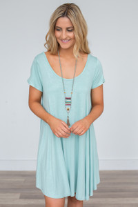 Crisscross Back T-Shirt Dress - Mint