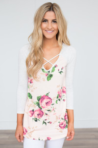 Cross Front Floral Raglan Tunic - Light Peach