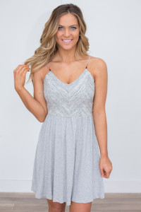 Strap Detail A-Line Dress - Heather Grey