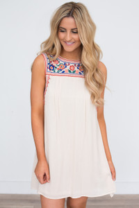 Sleeveless Embroidered Boho Dress - Cream