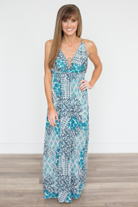 Circle Detail Printed Maxi Dress - Teal - FINAL SALE