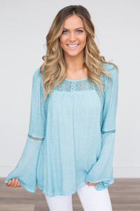 Lace Detail Bell Sleeve Blouse - Light Blue