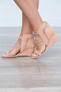 Strap Front Wedges - Blush