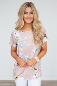 Scallop Trim Floral Print Blouse - Dusty Rose