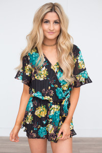Tie Waist Floral Pleated Romper - Black Multi