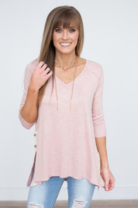 Lace and Button Side Detail Tunic - Heather Pink