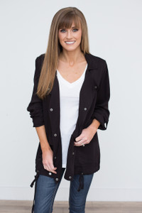 Drawstring Hem Snap Front Jacket - Black