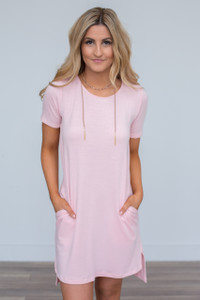 High Low T-Shirt Pocket Dress - Light Pink - FINAL SALE