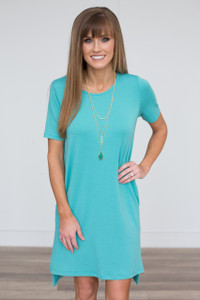 High Low T-Shirt Pocket Dress - Turquoise