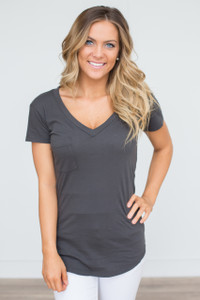 LA Made V-Neck Pocket Tee - Charcoal