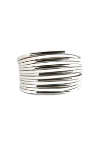 Faux Leather Cuff Bracelet - White/Silver