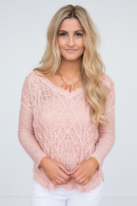 High-Low Open Knit Sweater - Dusty Pink