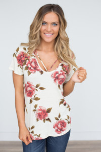Strap Front Floral Print Tee - Ivory - FINAL SALE