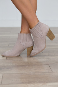 Pointed Toe Slip-On Bootie - Taupe