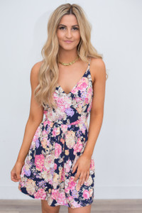 Floral Print Fit & Flare Dress - Navy Multi