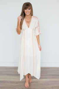 Handkerchief Hem Embroidered Dress - Ivory