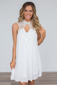 Lace Top Keyhole Dress - White