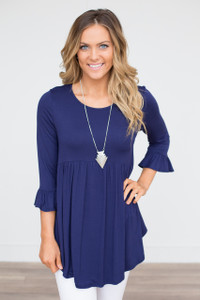 Ruffle Cuff Babydoll Tunic - Navy - FINAL SALE