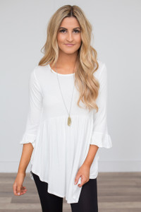 Ruffle Cuff Babydoll Tunic - Off White - FINAL SALE