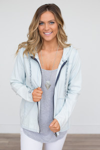 Hooded Zip Up Jacket - Chambray - FINAL SALE
