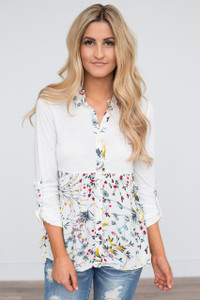 Floral Contrast Button Down Top - Ivory