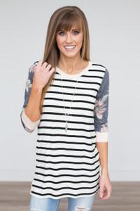 Mixed Print Knit Tunic - Black/Ivory