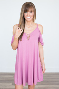 Crisscross Keyhole Dress - Mauve Pink - FINAL SALE