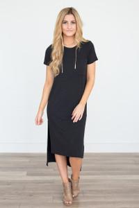 High-Low T-Shirt Midi Dress - Faded Black