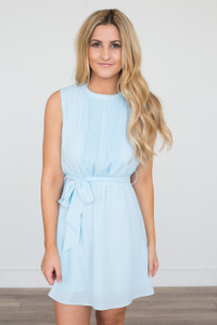 Tie Waist Sleeveless Chiffon Dress - Sky Blue