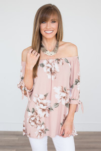 Off The Shoulder Floral Tunic - Dusty Pink