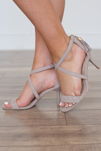 Cross Front Tassel Back Heels - Taupe