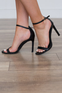 Simple Strap Faux Leather Heels - Black