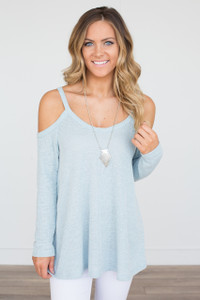 Lightweight Cold Shoulder Sweater - Light Blue