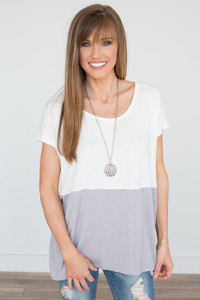 Colorblock Tunic Tee - Off White/Grey