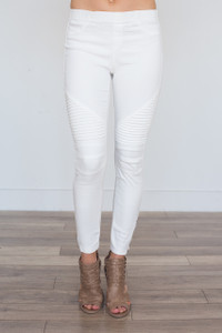 Zipper Detail Moto Stitch Leggings - Off White