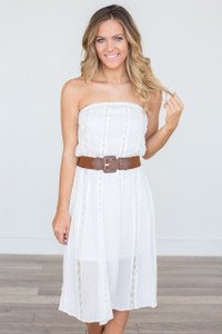 Strapless Lace Dress - Off White - FINAL SALE
