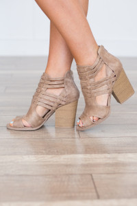 Caged Stacked Peep Toe Bootie - Taupe