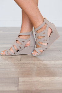 Zip Back Cutout Wedges - Taupe