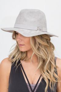 Faux Suede Hat - Grey