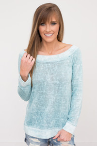 Boat Neck Vintage Wash Tunic - Mint - FINAL SALE