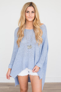 Cuff Sleeve Sweater - Periwinkle