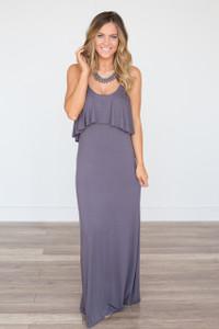 Ruffle Top Solid Maxi Dress - Charcoal