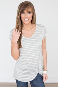 Striped V-Neck Knot Tee - Heather Grey - FINAL SALE